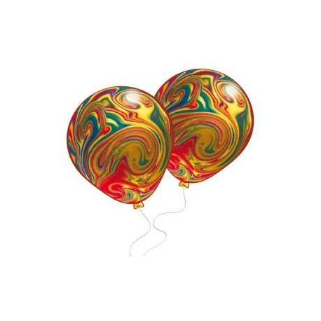 Lot de 8 Ballons marbrés - Latex