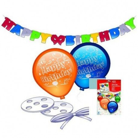 Lot de Ballons + Guirlande - Happy Birthday