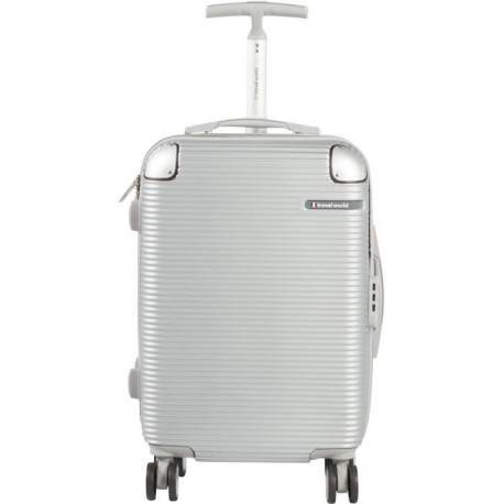 TRAVEL WORLD Valise cabine de week-end - 50 cm - Gris argenté