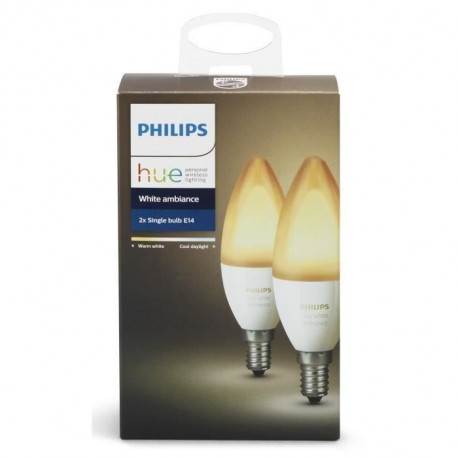 PHILIPS HUE Pack de 2 ampoules White Ambiance flamme E14