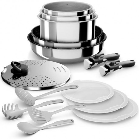 BACKEN Batteries de cuisine 15 pieces - Inox - Tous feux dont induction