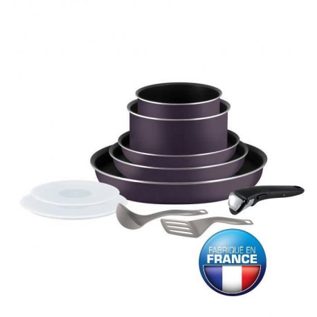TEFAL INGENIO ESSENTIAL Batterie de cuisine 10 pieces L2029802 16-18-20-22-26cm Tous feux sauf induction cassis