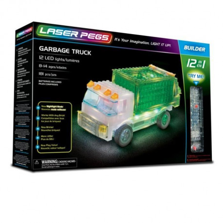 LASER PEGS Jeux de construction 12 in 1 Garbage Truck