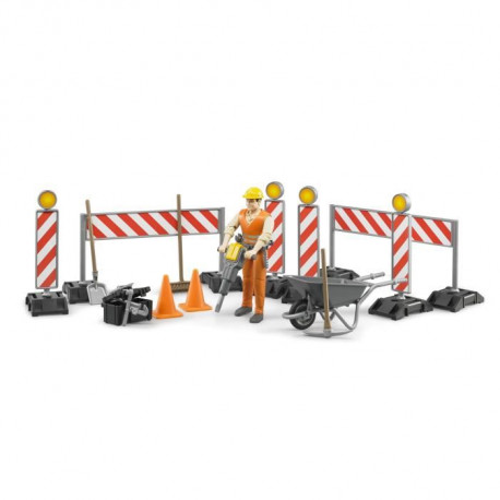 BRUDER - Set de construction Bworld avec figurine - 10,7 cm
