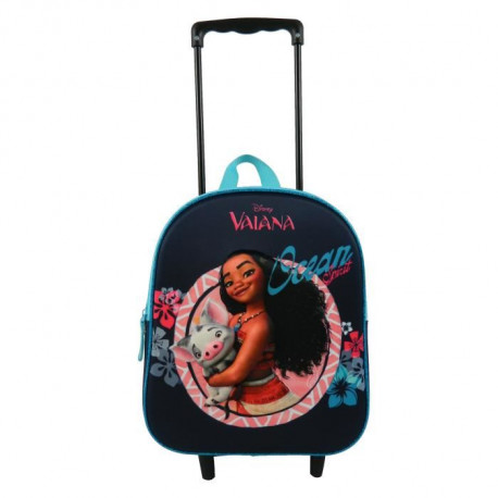 VAIANA - SAC A DOS A ROULETTES Maternelle Fille 25x11x31 BLEU MARINE