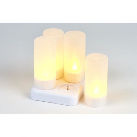 Set de 4 bougies LED + chargeur en PVC - H 10 x Ø 4 cm - Blanc - 1 LED
