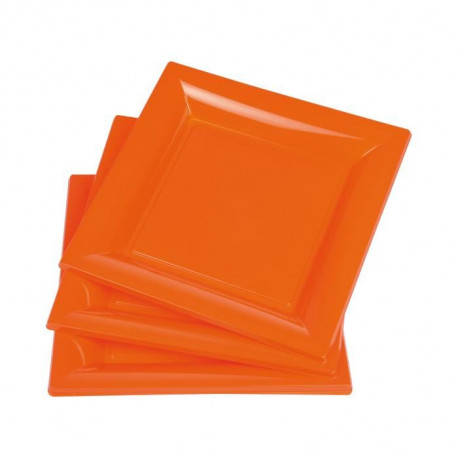 Lot de 6 assiettes carrées - 17 g - 21,5 x 21,5 cm - Orange