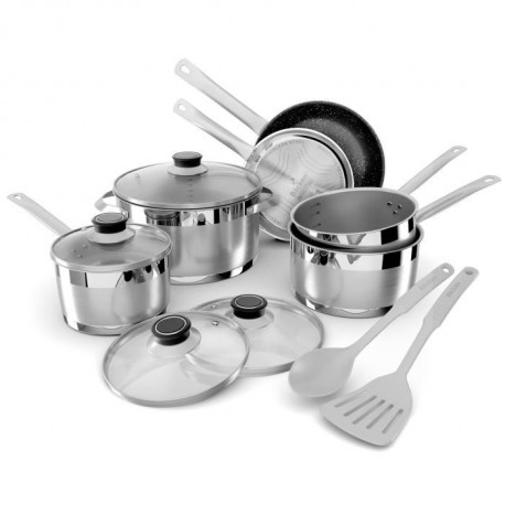 BACKEN Batterie de cuisine 12 pieces 659912 - Inox - Tous feux dont induction + Four
