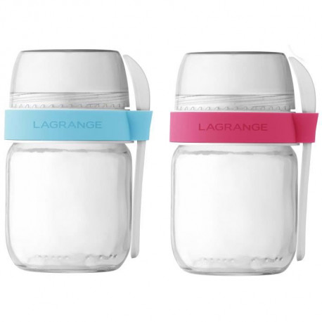 LAGRANGE Lot de 2 pots compartimentés 440403 - Transparent et blanc