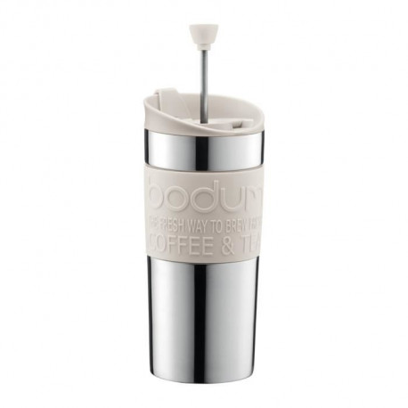 BODUM TRAVEL PRESS Mug a piston en inox double paroi 0.35 l Blanc Creme