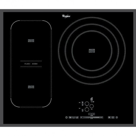 WHIRLPOOL ACM846BA - Table de cuisson a Induction - 3 zones - 7400W - L65 x P51cm - Revetement verre - Noir