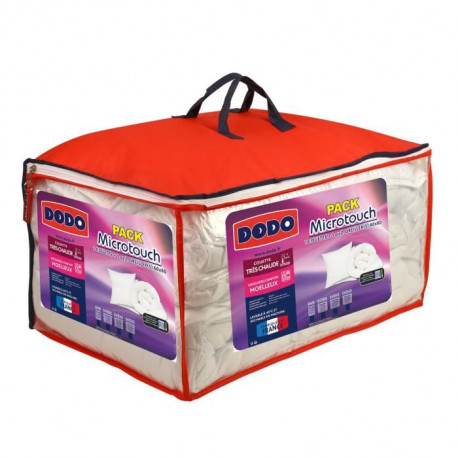 DODO Pack Microtouch - 1 couette 240x260 cm + 2 oreillers 60x60 cm - Blanc