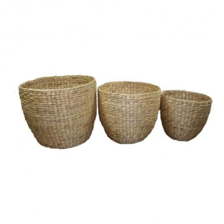 Set de 3 pots ronds tressés - Ø 27 / 32 / 38 cm - Marron naturel