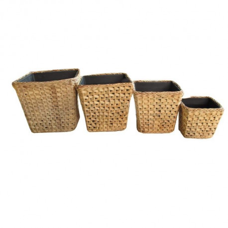 Set de 4 pots carrés - Tressage zigzag - 16 x H 14 / 20 x H 17 / 26 x H 24 / 34 x H 31 cm - Marron naturel