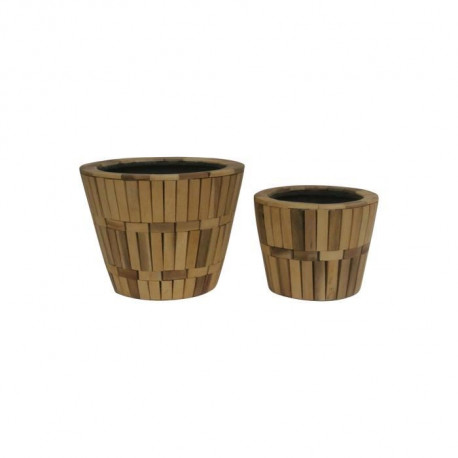Set de 2 pots - Revetement en bois - Ø 19 x H 14 cm / Ø 24 x H 19 cm - Marron naturel