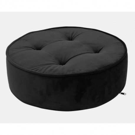 THE HOME DECO FACTORY Coussin de sol velours - Ø 50cm x 16 cm - Noir