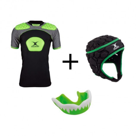 GILBERT Pack protection rugby enfant 6 - 8 ans - Casque rugby + épauliere rugby et protege dent offert