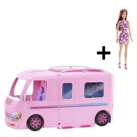 BARBIE - Camping Car Transformable + Poupée Barbie Fab Blitz OFFERTE