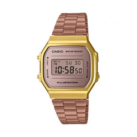 CASIO Montre Vintage Mirror Face A168WECM-5EF - Mixte - Rose gold