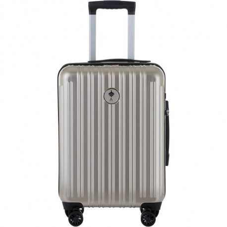 IKASE Valise Cabine Connectée Trolley Rigide Polycarbonate - 8 Roues - 50 cm - Or