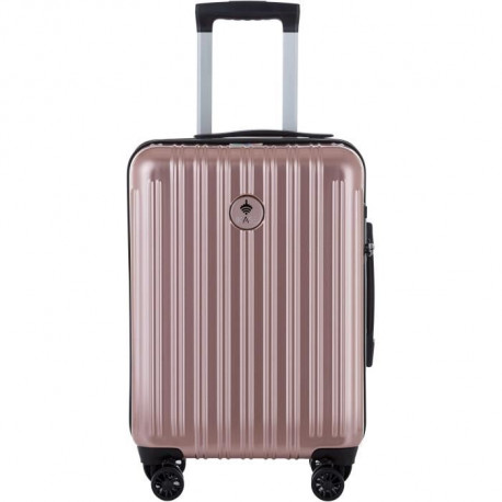 IKASE Valise Cabine Connectée Trolley Rigide Polycarbonate - 8 Roues - 50 cm - Or Rose