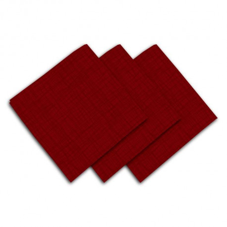 SOLEIL D'OCRE Lot de 3 serviettes de table - Galaxy -  45x45 cm - Rouge