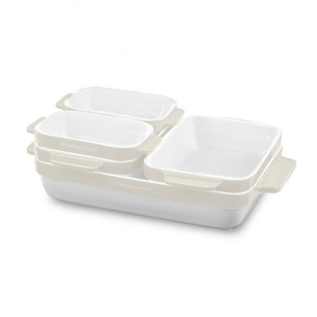 KITCHENAID KBLR05SBAC - Set de 5 plats a four en céramique vitrifiée durable - Blanc et creme