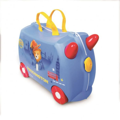TRUNKI Ride On Valise a Roulettes Enfant Paddington - 46x30x21 cm - Bleu et Rouge