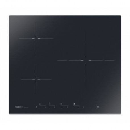 ROSIERES RID733BV Table de cuisson induction - 3 zones - 2600W - L59 x P52 cm - Revetement verre vitrocéramique - Noir