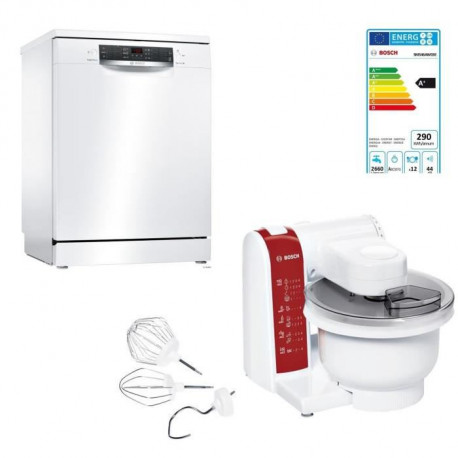 BOSCH SMS46AW03E - Lave vaisselle pose libre - 12 couverts - 44 dB - A+ - L 60 cm + MUM48RE Kitchen machine ProfilMixx - 600 W