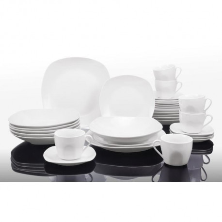 T1003048-60X - Service de table 60 pieces - Porcelaine - Forme faux carrée - Blanc
