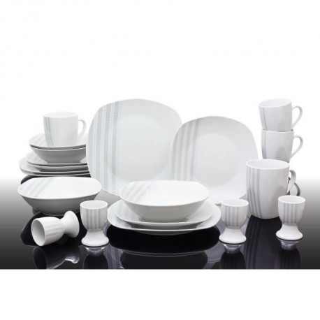T1810503-40X - Service de table 40 pieces Nina - Porcelaine - Gris