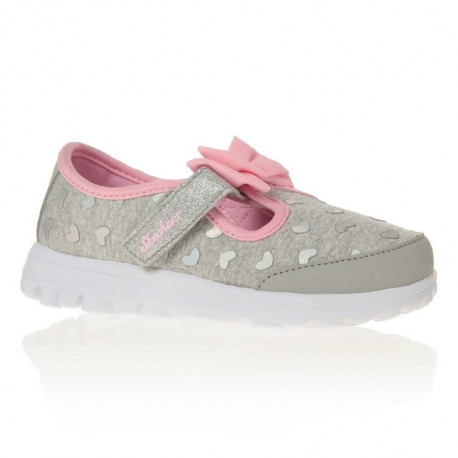 SKECHERS Baskets Go Walk Bitty Hearts - Bébé Fille - Gris et Rose