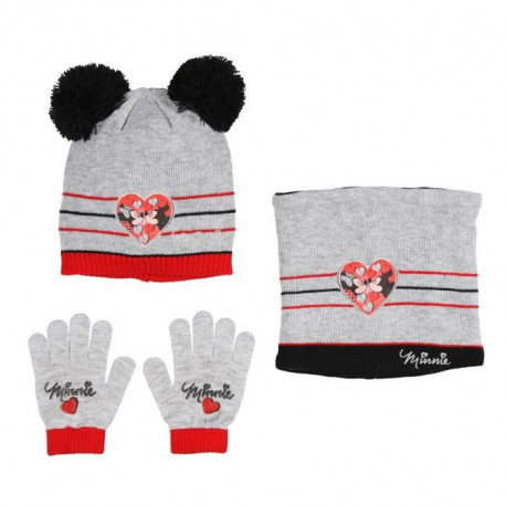 DISNEY MINNIE Lot de Bonnet + Écharpe + Gant Gris Clair Enfant Fille