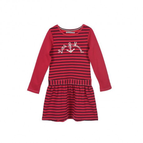 LITTLE MARCEL Robe Manches Longues Rayures Rose Fuchsia Enfant Fille