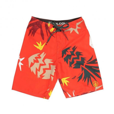 VOLCOM Short de Bain Lada Lane Why Rock - Enfant Garçon - Rouge