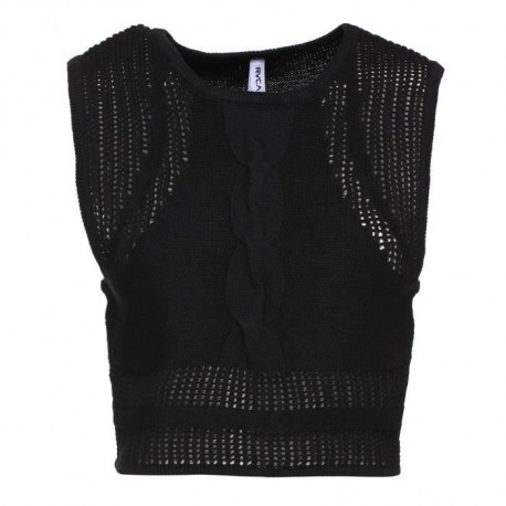 RVCA Crop Top Sans Manche Number One U3JPRC - Femme - Noir