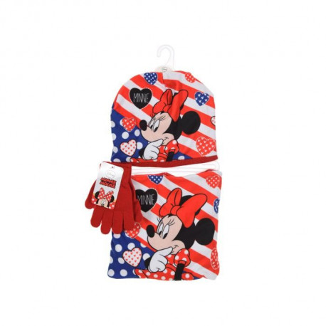 DISNEY MINNIE Ensemble Bonnet + Col Snood + Gants Rouge Enfant Fille