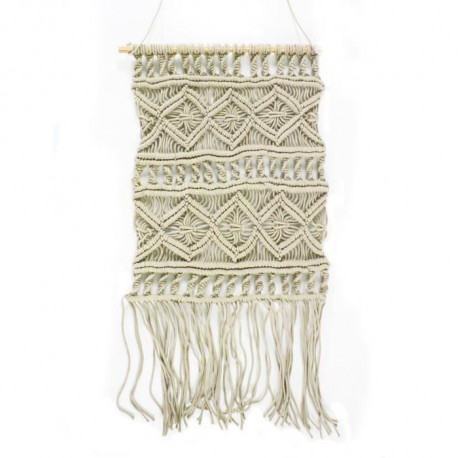 Suspension murale Macrame - 45 x 50 cm - Marron naturel
