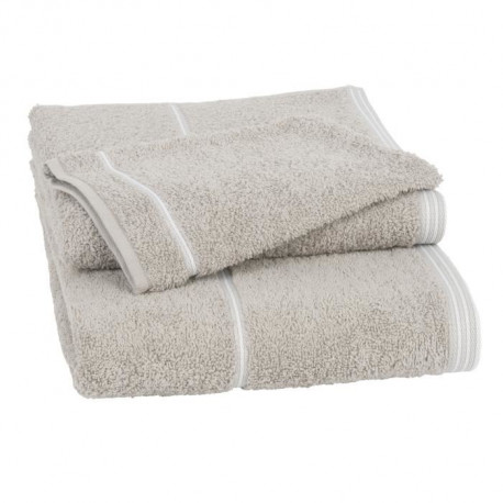 JULES CLARYSSE Lot de 1 serviette + 1 drap de bain + 1 gant Basic - 100% coton - Marron sable
