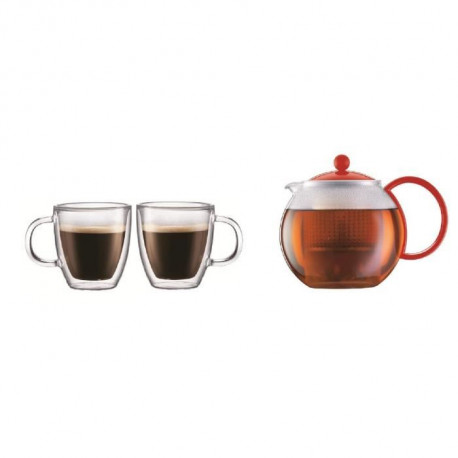 BODUM ASSAM Theiere a piston 1L + BISTRO Set de 2 mugs double paroi 0,3L - Rouge/Transparent