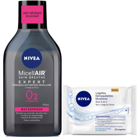 Lot Micellaire Biphase Micellaire 400 ml + NIVEA Lingettes Micellaires 25 pieces
