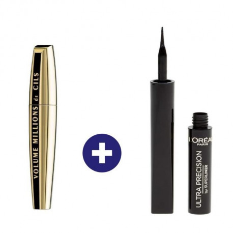 L'Oréal Paris Routine Maquillage Regard : Mascara Volume Million Cils Et Super Liner Noir