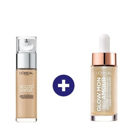 L'Oréal Paris Routine Maquillage Teint Clair / Medium : Fond De Teint Accord Parfait Et Highlighter Glow