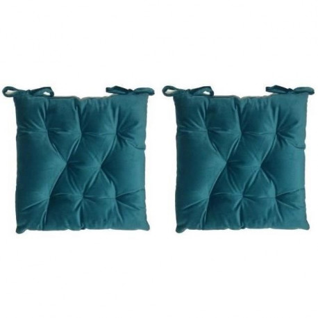 Lot de 2 galettes de chaise velours 8 points - 40x40 cm - Bleu canard