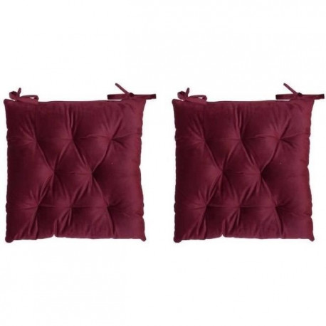 Lot de 2 galettes de chaise velours 8 points - 40x40 cm - Rouge bordeaux