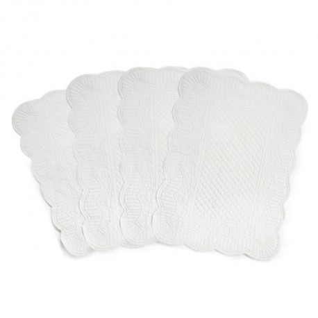 Lot de 4 set de table réversible boutis Romane - 100% coton - 35 x 50 cm - Blanc