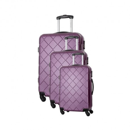 BAG STONE Set de 3 Valises 4 roues S/M/L Violet Lewis