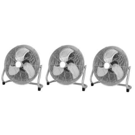 OCEANIC Lot de 3 ventilateurs industriels de sol - Brasseur d'air 120 W - 3 vitesses - Diametre 45 cm