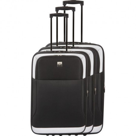 FRANCE BAG - Set de 3 valises extensibles 2 roues - Noir